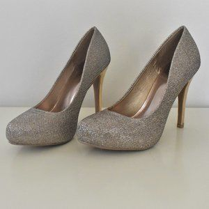 Qupid Gold and Silver Glittery Stiletto Heels